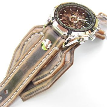 Steampunk Leather Watch,Leather Watch Cuff, Bracelet Watch, Steampunk Wrist Watch, Men's Leather Watch, Handmade Watch, White & Black Strap