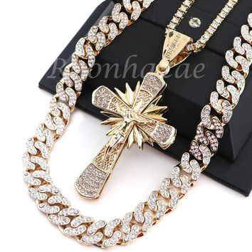 "ICED OUT 14K GOLD PT JESUS CROSS 18"" TENNIS CHAIN 16"" 30"" CHOKER CUBAN CHAIN S22"