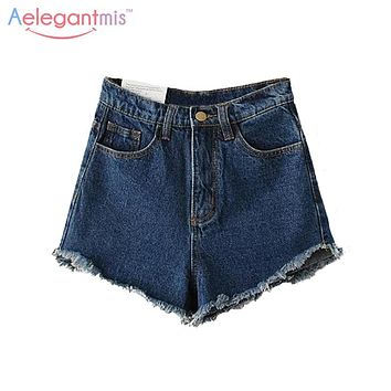 Aelegantmis Fashion 2017 Spring Summer Frayed Blue High Waist Denim Shorts Women Slim Fringe Casual Cut Off Jeans Shorts Ladies