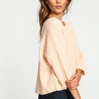 Peach Chunky Knit Cropped Sweater