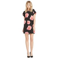 Black Floral Short Sleeve Mini Dress