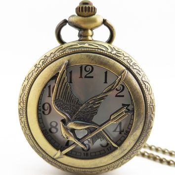Fashion jewelry, hunger games retro necklace pocket watch 2018 new Russian hunger games pocket watch bronze antique cool bird.