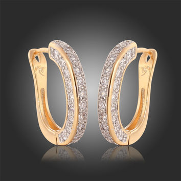 Yellow Gold Plated U Shape Huggie Hoop Earrings For Womens Luxury Three Face Paved Zircon CZ Diamond Earings Jewelry Bijoux
