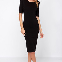 LULUS Exclusive We Built This Midi Black Midi Dress