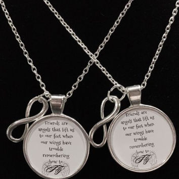 2 Necklaces Infinity When Your Wings Forget To Fly Best Friend Forever Quote Set