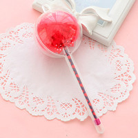 Red Novelty Gel Pen with Fuzzy Ball Top