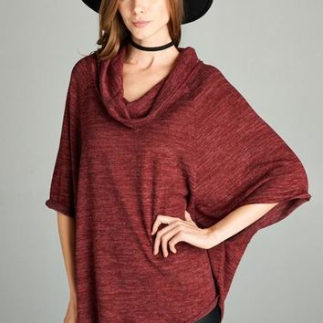 3/4 Loose Cowl Turtle Neck Poncho Top