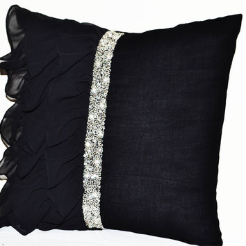 Elegant Black ruffled sequin throw pillow - 16X16  Decorative Pillow - Black cushion cover - Gift Pillow