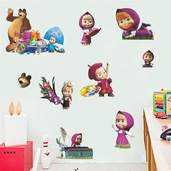 45*65cm Cartoon PVC sticker Doll Masha and the Bear Ice Troll Yo