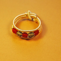 Wire Wrap Ring - Czech Polished Red Gray Beads - Silver Filled Wire - Any Size - Jewelry - Rings