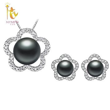 [NYMPH]Natural Pearl Jewlery Sets Real Freshwater Pearl Necklace Pendant Earrings Black Wedding Party Gift For Girl Star[T24901]