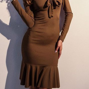 Brown Draped Backless Bowknot Off Shoulder Long Sleeve Club Cute Midi Dress