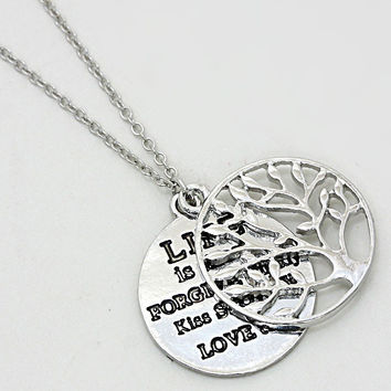 Tree of Life Message Disc Necklace