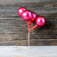 hot pink glass ball  picks  // wired glass ornament wreath supply trim mid century shabby chic