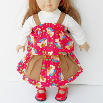 18 inch doll clothes girl, Christmas, Angel, Skirt, off white t shirt, hair ribbon, ruffled camisole, handmade by adorabledolldesigns, red