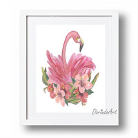 Flamingo print Pink Nursery wall art Floral Flamingo printable Tropical art Flamingo party decor 5x7 8x10 11x14 16x20 DOWNLOAD Bird decor