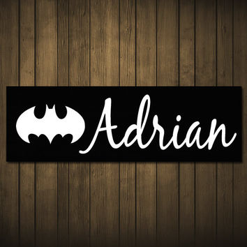 Custom Name Painted Wood Sign Board Plaque Batman Superman Personalized Letters with Superhero Design - Birthday Gift - Decor