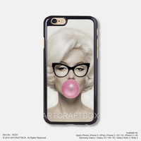 Marilyn Monroe with Glasses Free Shipping iPhone 6 6Plus case iPhone 5s case iPhone 5C case iPhone 4 4S case Samsung galaxy Note 2 Note 3 Note 4 S3 S4 S5 case 291