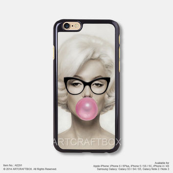 Marilyn Monroe with Glasses iPhone Case Black Hard case 291