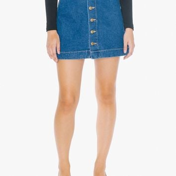 Denim Button Front A-Line Mini Skirt | American Apparel