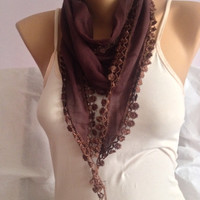 Brown Scarf - Dark Brown Floral Lace Scarf  - Necklace Scarf - Neckwrap - Cotton Elegant Scarf