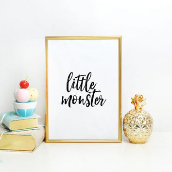 LITTLE MONSTER printable Black and White Nursery Art,Illustration Downloadable Print,Wall Print Nursery Print,Printable Art,Wall Print