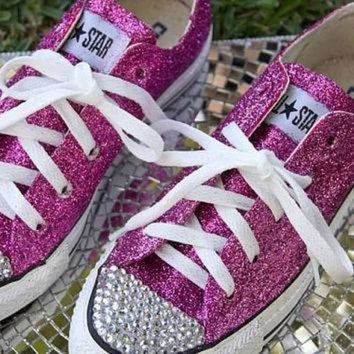 CREYONV custom made hot pink glitter converse with by allthingsglam