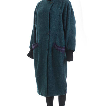 Oversized Wool Coat L 80s Clothing Long Wool Coat Batwing Jacket Corset Plaid Coat Purple Teal Baggy Vintage Clothing Women's Size LARGE