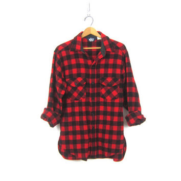 Buffalo Check Plaid Shirt WOOL Flannel Red White Lumberjack Button Down Grunge Vintage Mens Rugged Work Shirt Unisex Medium