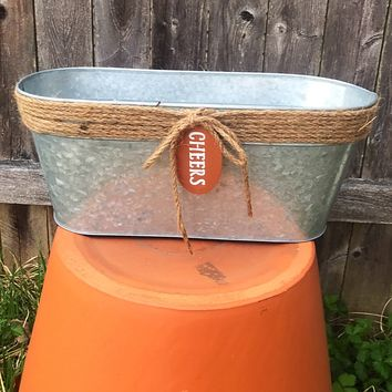 "Oval Galvanized Twine Accent Bucket with ""Cheers"" Tag"