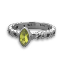 Oxidized Sterling Silver Heart Band Marquise Peridot Ring