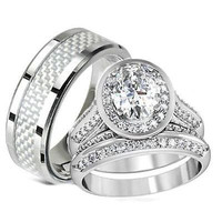 His Hers Halo Cz Matching Wedding Ring Set Stainless Steel