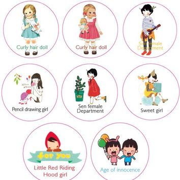 10 pcs/lot DIY Cartoon Paper Washi Masking  hood doll Sweet girl decorative adhesive tape stickers/School Supplies 20mm*10M