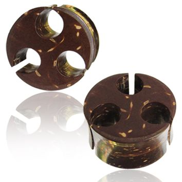 Organic Coconut Wood Shell Cut-Out Viking Style Double Flared Saddle Ear Plugs, Pair
