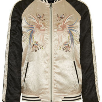 Sateen Embroidered Bomber - Champagne