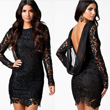 Backless Long Sleeve Mini Lace Embroidered Dress