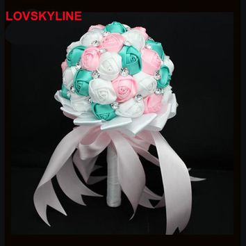 Crystal Applique Wedding Bouquet Pearl Flores Artificiales Rayon Bridal Bouquet Wedding Flowers Accessories