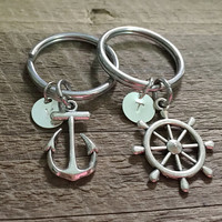 Anchor Rudder keychains for couples, his hers, Personalized couples keyring for boyfriend girlfriend, wife husband, couples initial keychain