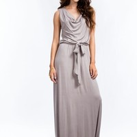 Cinched Cowl Neck Maxi Dress