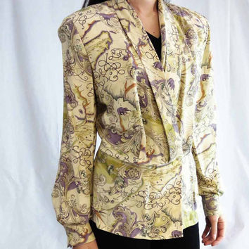 Vintage Dana Buchman Silk Blouse in Old World Map Print, Wrap with Shawl Collar, size 8
