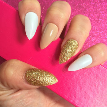 Luxury Hand Painted False Nails. Stiletto Nude, White & Gold Nails. 24 Nail Set.