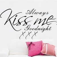"ColorfulHall 23.6"" X 55.1"" Large Size Always Kiss Me Goodnight Lettering Sayings Removable Wall Art Decal Sticker Decor Mural DIY Vinyl Room Home Decoration"