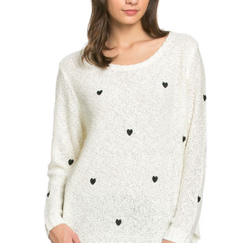 Love Heart Knitted Sweater White