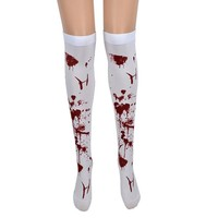 New Fashion Striped Thigh High Halloween Socks Over Knee Women Sexy Horror White Bloody Long Polyester Stocking Fancy Party Prop