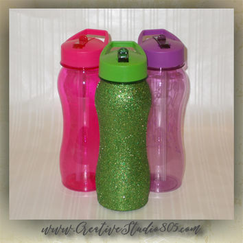 Glitter Water Bottles - 25oz bottle - bpa free - glitter decorated - lime green - hot pink - purple - turquoise