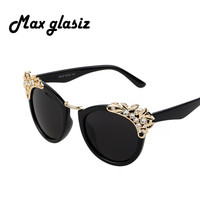 Female Diamond Sunglasses Cateye Glasses 2015 New Fashion Women Brand Designer mirror lens Eyewear lunette de soleil femme
