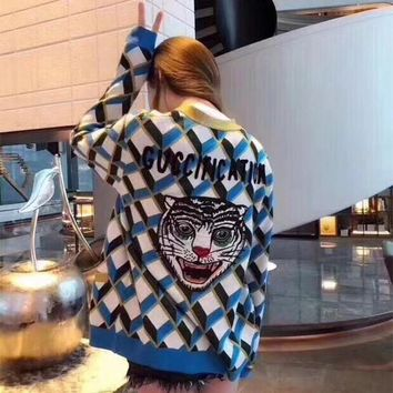 """""""Gucci"""" Women Fashion Multicolor Tartan Letter Tiger Head Embroidery Long Sleeve V-Neck Knit Cardigan Sweater Coat"""