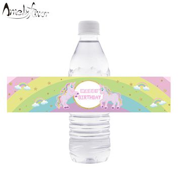 Unicorn Theme Water Bottle Labels Unicorn Horse Water Bottle Labels Kids Birthday Party Decoration Pink Baby Shower Supplies