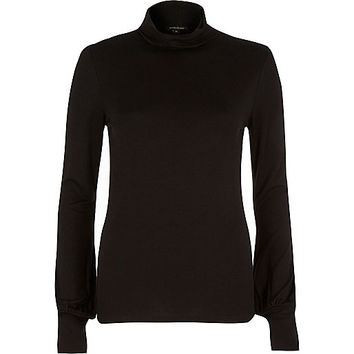 River Island Womens Black blouson polo neck top