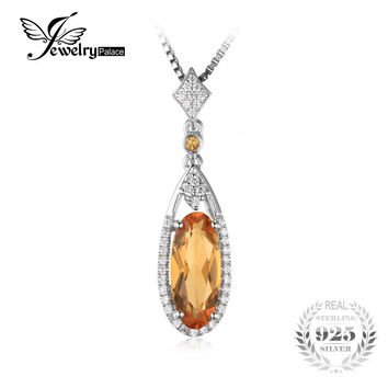 JewelryPalace Oval 2.4ct Yellow Genuine Citrine Pendant 925 Sterling Silver Not Include a Chain 2016 New Fine Jewelry For Women